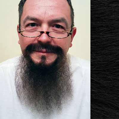 Beard & Moustache Combination MB2 Colour 1b - Black - Human Hair - BMB